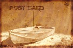Weinlese-Postkarte mit Boot Stockbilder