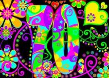 Weinlese psychedelisches 70s Stockbild