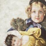Weinlese-Puppe-Einklebebuch-Papier lizenzfreie abbildung