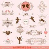 Weinlese-Rahmen-und Fahnen-Liebes-Thema Stockbilder