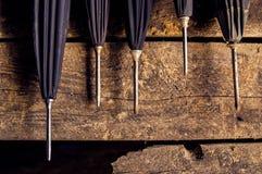 Weinlese-Regenschirm steckt Bild fest Lizenzfreies Stockfoto