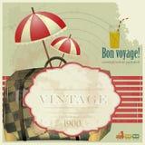 Weinlese-Reisen-Postkarte Stockfoto