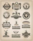 Weinlese-Retro- Bäckerei-Kennsatzfamilie Stockfotos
