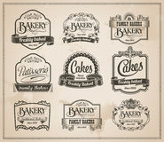 Weinlese-Retro- Bäckerei-Kennsatzfamilie Stockbilder