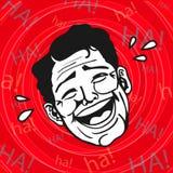 Weinlese Retro- Clipart: Lol, Mann, der heraus lautes lacht Stockbilder
