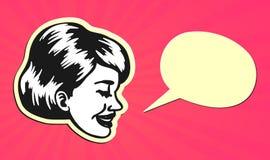 Weinlese Retro- Clipart: Sprechende Frau mit Spracheblase Lizenzfreie Stockbilder