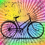 Weinlese-Retro- Fahrrad mit buntem Hintergrund Stockbild