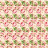 Weinlese-rosa und grüne Rose Pattern Background Stockfotos