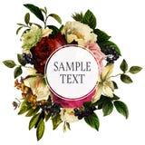 Weinlese Rose Berry Floral Bouquet Frame Template vektor abbildung