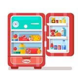Weinlese-Rot geöffneter Kühlschrank voll des Lebensmittel-Vektors Illus Lizenzfreies Stockbild