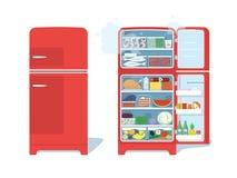 Weinlese-roter geschlossener und geöffneter Kühlschrank voll des Lebensmittels Stockfotografie