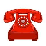 Weinlese-rotes Telefon mit Knöpfen wählen den Ring, der auf einem weißen Hintergrund lokalisiert wird Einfarbige Linie Kunst Retr Lizenzfreie Stockbilder