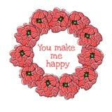 Weinlese-runder mit Blumenrahmen Mohnblumen im altem Stil Lizenzfreie Stockbilder