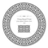 Weinlese-runder Retro- Spant 310 Grey Square Mosaic Cross Lizenzfreies Stockbild