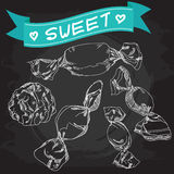 Weinlese-Süßigkeits-Plakat-Tafel Lizenzfreie Stockbilder