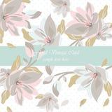 Weinlese-schöne Blumenkarte Stockfoto