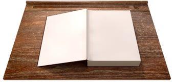 Weinlese-Schuldesktop mit offenem leerem Buch Stockfoto