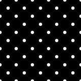 Weinlese-schwarzes nahtloses Muster mit weißen Tupfen Stockbild