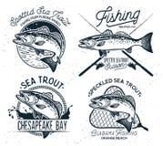 Weinlese-Seeforellen-Fischen versinnbildlicht, Aufkleber und Gestaltungselemente vektor abbildung