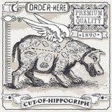 Weinlese-Seite des Schnittes von Hippogriph Lizenzfreie Stockfotos