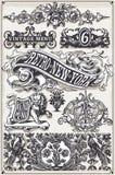 Weinlese-Seiten-Hand gezeichnete Fahnen und Aufkleber stock abbildung