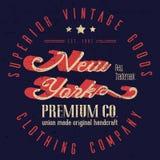 Weinlese-Sport-Abnutzungs-New- Yorkt-shirt Design, Leichtathletik-Typografie Stockfotos