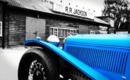 Weinlese-Sport-Motor- Blau Stockfotos
