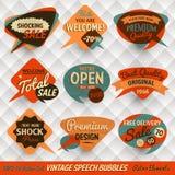 Weinlese-Sprache-Blasen-Karten Lizenzfreie Stockbilder