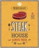 Weinlese-Steakhaus-Plakat. Stockfotografie