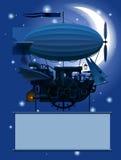 Weinlese Steampunk-Schablone mit einem fantastischen Fliegenschiff in der Nacht Stockfotografie