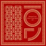 Weinlese-stellte chinesisches Rahmen-Muster 069 Diamond Cross Square ein Lizenzfreie Stockfotos