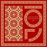 Weinlese-stellte chinesisches Rahmen-Muster die 038 Kurven-Querblume ein Stockbild
