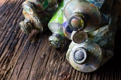 Weinlese stilisierte Foto Ölder mehrfarbenfarben-Rohrnahaufnahme und Stockfotos
