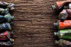 Weinlese stilisierte Foto Ölder mehrfarbenfarben-Rohrnahaufnahme und Stockfotografie