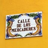 Weinlese-Straßenschilder, alte Stadt, Havana lizenzfreies stockbild