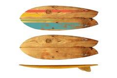 Weinlese-Surfbrett lokalisiert auf Weiß Stockbilder