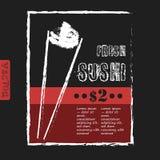 Weinlese-Sushi-Bar-Plakat - Tafel Vektor Lizenzfreies Stockfoto