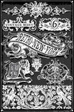 Weinlese-Tafel-Hand gezeichnete Fahnen und Aufkleber Stockfotos