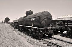 Weinlese-Tanker-Auto am Perris-Eisenbahn-Museum stockfotografie