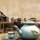 Weinlese-Tee-Räume lizenzfreie abbildung