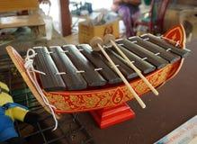 Weinlese thailändischer Alto Xylophone, traditionelles Thailand Musical Inst A Stockfoto