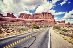Weinlese tonte Bild einer szenischen Straße, USA Lizenzfreie Stockfotos