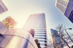 Weinlese tonte Foto von Denver-Wolkenkratzern Lizenzfreies Stockbild