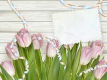 Weinlese tonte Tulpen und Briefpapier ENV 10 stock abbildung