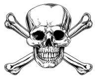 Weinlese-Totenkopf mit gekreuzter Knochen-Zeichen Stockfotografie