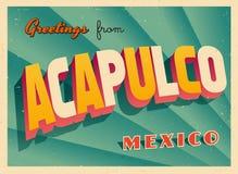 Weinlese-touristische Gruß-Karte von Acapulco Lizenzfreies Stockfoto