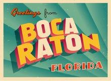 Weinlese-touristische Gruß-Karte von Boca Raton, Florida Lizenzfreie Stockfotografie