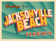 Weinlese-touristische Gruß-Karte von Jacksonville-Strand, Florida Lizenzfreies Stockbild