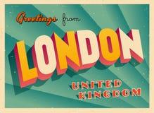 Weinlese-touristische Gruß-Karte von London Stockbild