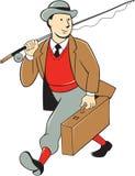 Weinlese-touristischer Fliegen-Fischer Luggage Cartoon Lizenzfreie Stockfotos